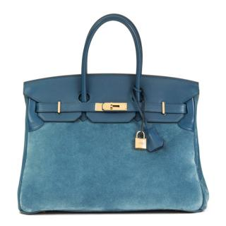 Hermes Thalassa Swift & Veau Doblis Grizzly 35cm Birkin Bag