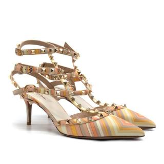 Valentino Multicoloured Asymmetric Rockstud Caged 65MM Pumps