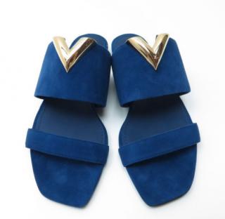 Louis Vuitton Blue Suede Bayfront Mules
