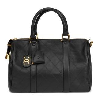 Chanel Black Lambskin Boston 35 Bag