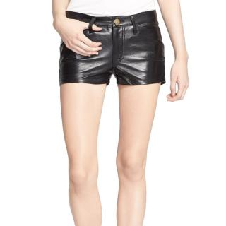 Current/Elliot Black Leather Mini Shorts