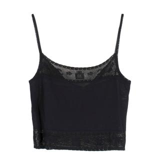 Chanel black CC-knit cropped cami top