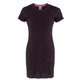 M Missoni Pink Tinsel-effect Knit Mini Dress