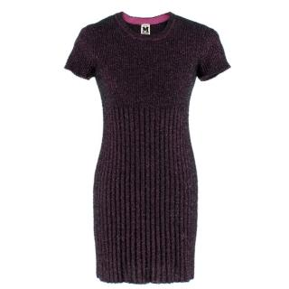 M Missoni Pink Tinsel-effect Knit Mini Dress