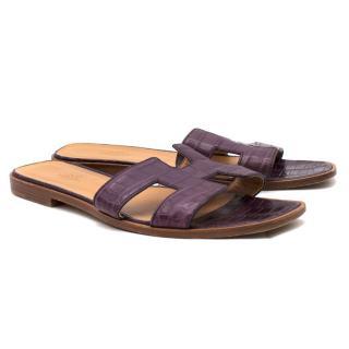Hermes Cassis Purple Oran Crocodile Slides