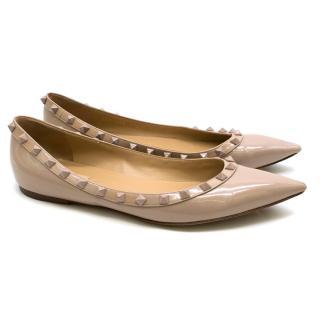 Valentino Nude Patent Leather Rockstud Ballerina Flats