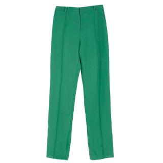Jonathan Saunders piped-trim green crepe trousers