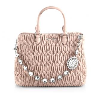 Miu Miu Nappa Crystal Matelasse Leather Satchel Bag