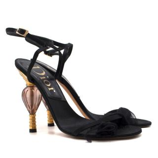 Dior sculpted perfume bottle heel satin sandals