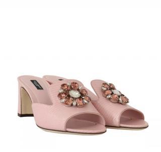 Dolce & Gabbana Pale Pink Crystal Embellished Mules