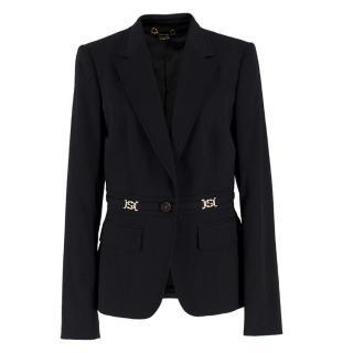 Gucci Black Wool Gold-tone Logo Blazer