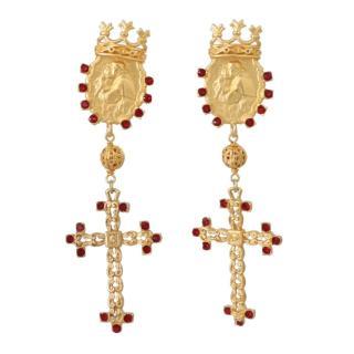 Dolce & Gabbana cross-drop clip-on earrings