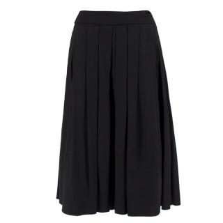 Escada pleated black midi skirt