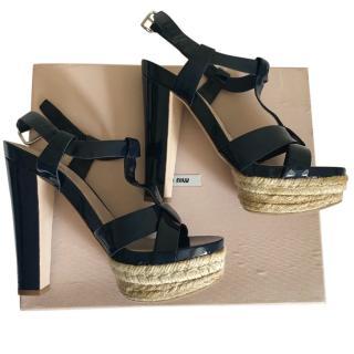 Miu Miu Patent Navy Espadrille Sandals