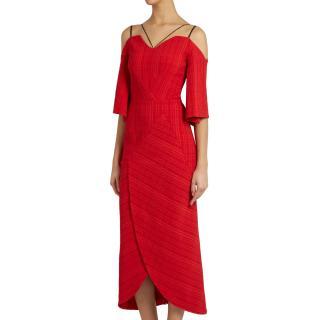 Roland Mouret Hollander cold-shoulder checked-cloqu� dress