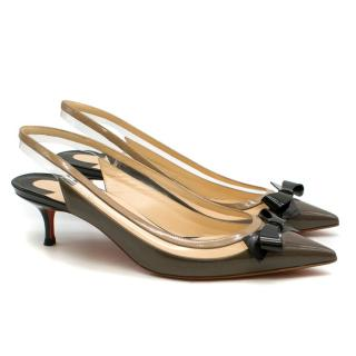 Christian Louboutin Brown Leather & PVC Slingback Sandals