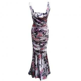 Dolce & Gabbana Mulberry Silk Ruched Floral Fitted Gown
