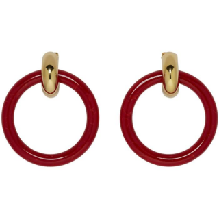 Balenciaga acrylic hoop red earrings