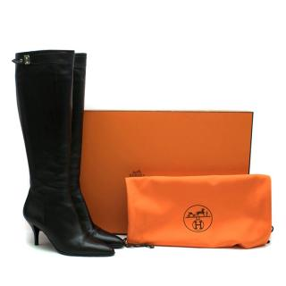 Hermes Black Leather Point-toe Heeled Long Boots