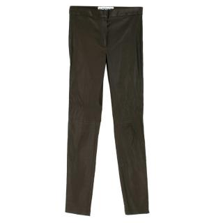 Loewe brown skinny leather trousers