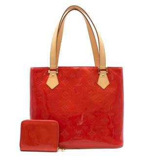 Louis Vuitton Red Vernis leather Houston tote bag & coin purse