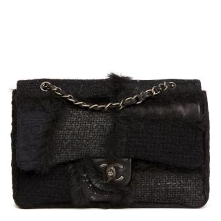 Chanel Tweed, Leather & Fur Patchwork Jumbo Flap Bag