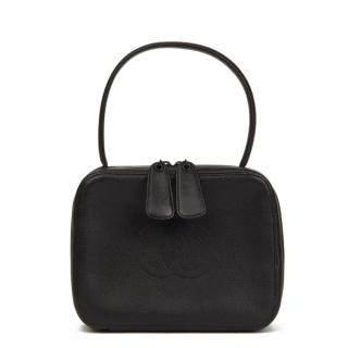 Chanel Vintage Black Leather Top Handle Vanity Bag
