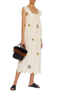 Alexa Chung Fifi Embroidered Smock Midi Dress