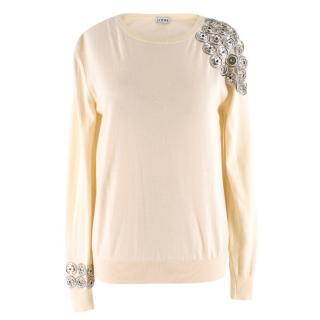 Loewe cream push stud-embellished wool sweater