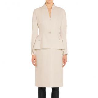 Givenchy peplum-waist cream wool-crepe coat