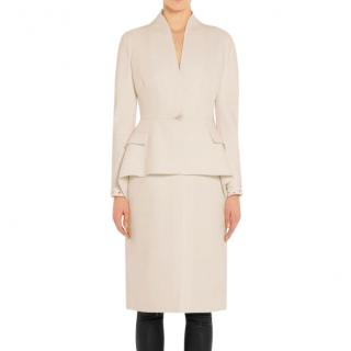 Givenchy peplum-waist cream wool-crepe coat