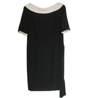 Escada Black & White Boat Neck Dress