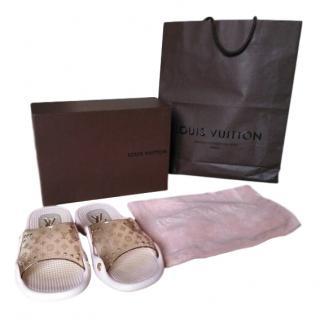 Louis Vuitton Pink & Gold Monogram Slides