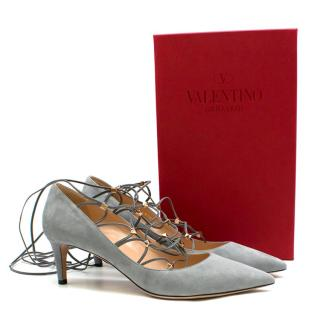 Valentino Garavani Grey Rockstud Suede Lace-up Pumps