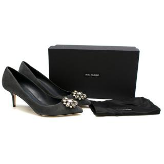 Dolce & Gabbana Grey Decollete Suede Embellished Pumps