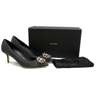 Dolce & Gabbana Grey Decollete Suede Embellished Pumps