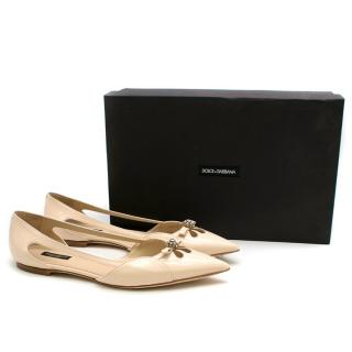 Dolce & Gabbana Nude Point Toe Ballet Flats