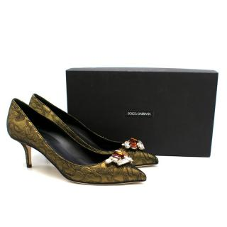 Dolce & Gabbana Gold Brocade Embellished Pumps