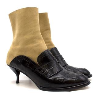 Loewe Leather and Suede Black & Tan Heeled Sock Boot Loafers