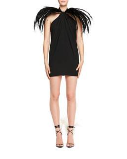 Saint Laurent Feather-Trim Halter Mini Dress - As Worn By Kate Moss