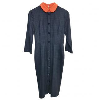 Roksanda Blue Check Shirt Dress W/ Orange Collar