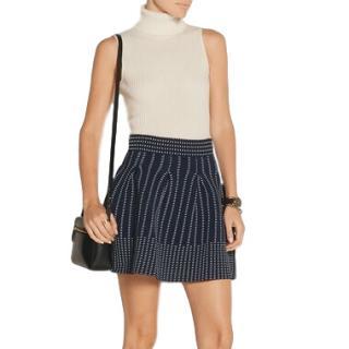Maje Josette Pleated Stretch-Knit Skirt