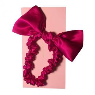 Maguy de Chadirac Pink Silk Satin Bow Headband