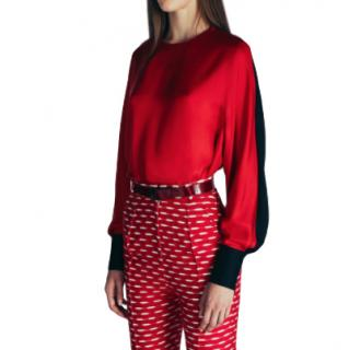 Jonathan Saunders Red & Navy Silk Liya Blouse
