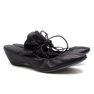 J.W. Anderson Black Leather Tie Back Ballerinas