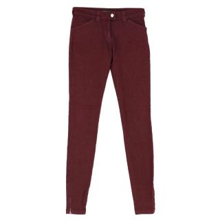 Balenciaga Burgundy Red Slim Denim Jeans