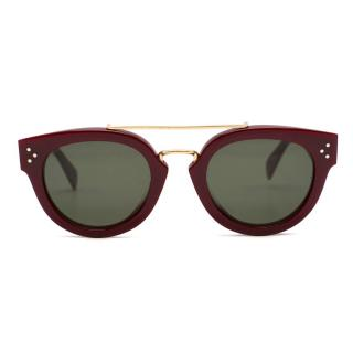 Celine Burgundy Red Round Sunglasses