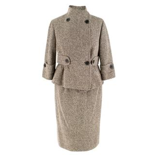 Valentino Brown Silk Blend Tweed Jacket and Skirt Set