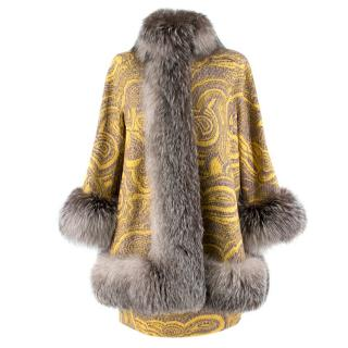 Missoni Yellow Jacquard Wool & Fox Fur Trim Coat & Mini Skirt
