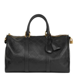 Chanel Vintage Black Leather Boston 45 Bag